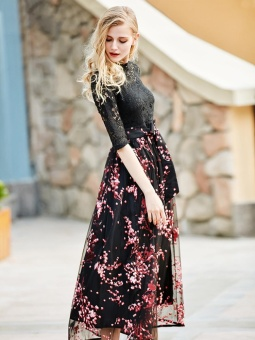 JollyChic Women's Maxi Long Dress Lace Patchwork Floral Pattern (Red) - intl - 3