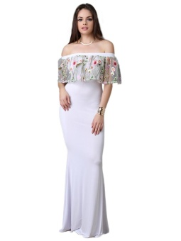 JollyChic Women's Maxi Long Dress Slash Neck Floral Embroidery (White) - intl