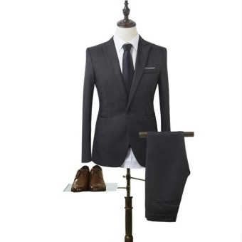 JOY Korea Korean fashion Business suit two piece suit black - intl