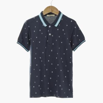 jusTees Boys Trees Pique Polo Shirt (Navy Blue)