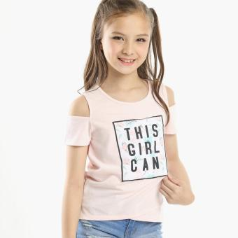 jusTees Girls This Girl Can Cold-shoulder Top (Peach) Price Philippines