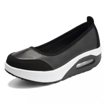 KAILIJIE Women's Shape Ups Slip on Wedge Sneakers Fitness PULeather Shoes (Black)
