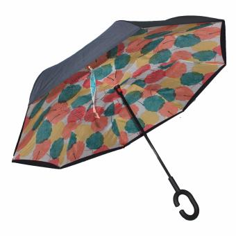 Karakter Manila Inverted Umbrella C- handle Pastel Leaves (Black/Pastel colors ) Price in Philippines