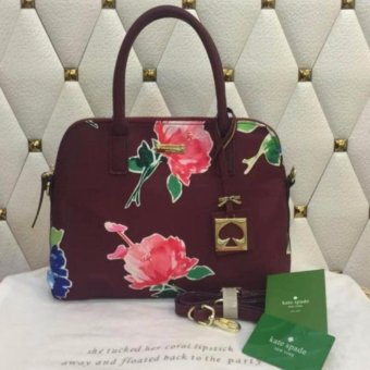 Kate Spade Dome Floral Bag With Sling in Maroon Price Philippines