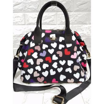 Kate Spade Lyla Nylon Tote Bag with Printed Hearts - Black