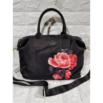 Kate Spade Lyla Nylon Tote Bag with Printed Rose - Black
