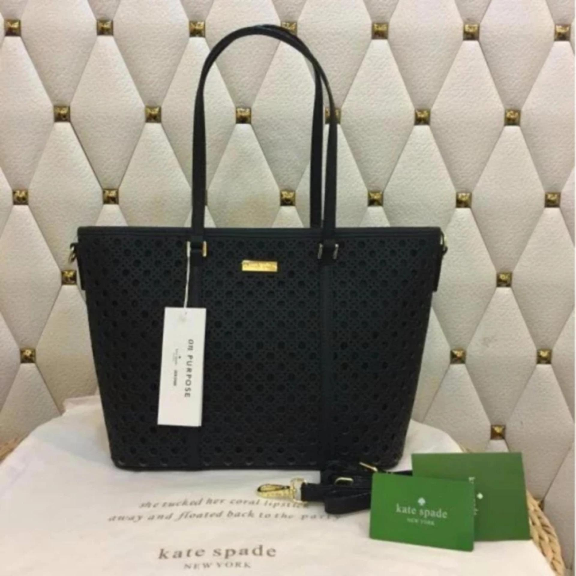 Philippines Kate Spade Perforated Tote Bag With Sling In Black