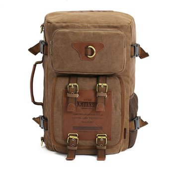 KAUKKO FH05 Men Multi-function Canvas Backpack (Khaki)
