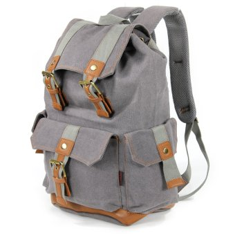 KAUKKO FS223 British Retro Classic Canvas Bag Men's Backpack (Grey) Price Philippines