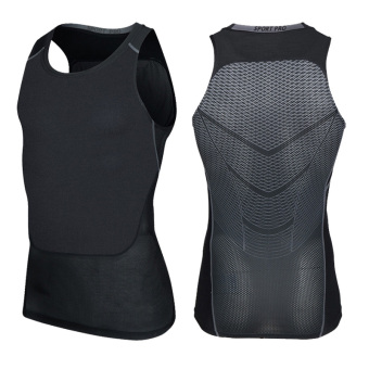 KD breathable network cross running fitness clothing slim fit vest (Blacksilver vest) (Blacksilver vest)