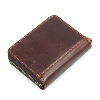 KEVIN YUN Vintage Men Genuine Leather Credit Card Holder Coffee - 3