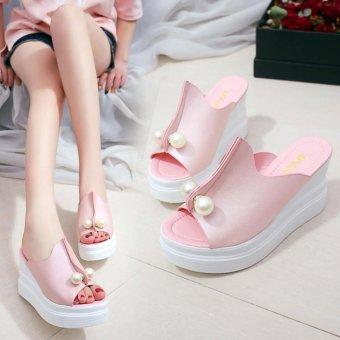 Khoee 520 Women's Casual High Heels Sandals Wedge Platform (pink) - 3