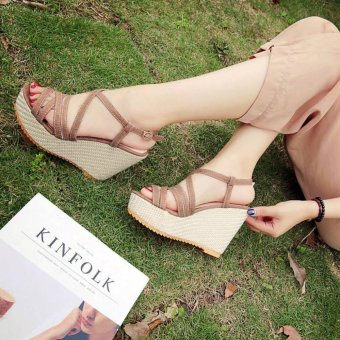 Khoee 816 Women's Shoes Peep Toe Wedge Platform High Heel PumpSandals Ankle Strap (brown) Price Philippines