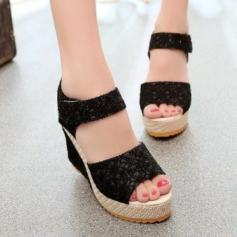 Khoee AW0115 Women's Shoes Peep Toe Wedge Platform High Heel PumpSandals Ankle Strap (black) Price Philippines