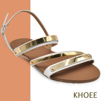 Khoee AZ-356 White 2 Strap Women's Flat Sandals