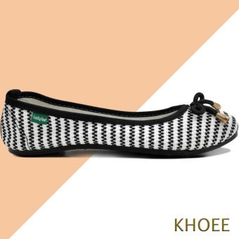 Khoee LKF-03 White Black Jenny Women's Doll Ballet Flat Shoes - 3