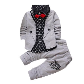 Kid Baby Boy Gentry Clothes Set Formal Party Christening Wedding Tuxedo Bow Suit - intl