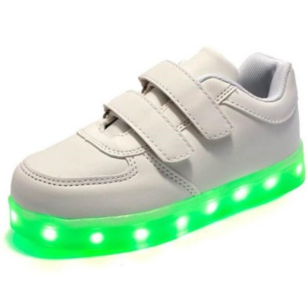 Kid Children's LED Flashlight Colorful without laces Little Non-Slip Sneakers Shoes(white) - intl Price Philippines
