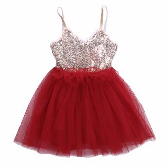 Kids Baby Girl Dress Sequins Tulle Tutu Dress Party Gown Formal Dresses Red - intl
