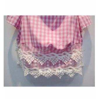 Kids Blouse with Shorts Plaid Semi Off Shoulder Top Girls CrochetLace Checkered Shirt with Shorts Set - 3