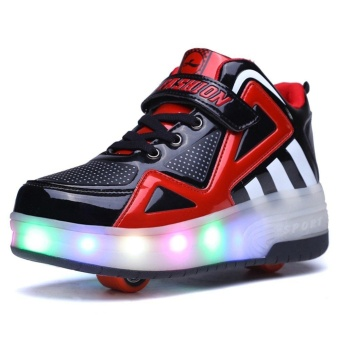 Kids Boys Girls High-Top Shoes LED Light Up Sneakers Double WheelRoller Skate Shoes(Black) - intl