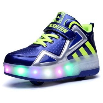Kids Boys Girls High-Top Shoes LED Light Up Sneakers Double WheelRoller Skate Shoes(Blue) - intl
