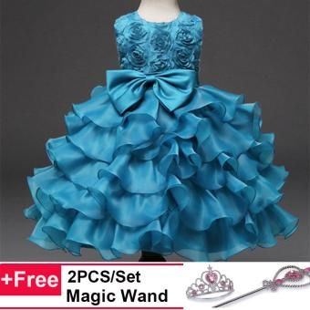 Kids Girls Party Wedding Princess Formal Ball Gown Flower RoseLayer Tutu Dress(Blue) - intl