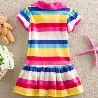 Kids Girls Peppa Pig Striped Rainbow T-Shirt Skirt Child ShortSleeve Dress - intl - 4