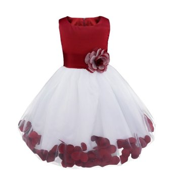 Kids Infant Girl Flower Petals Dress Children Bridesmaid Toddler Elegant Dress Pageant Vestido Infantil Tulle Formal Party Dress The Princess Skirt Red - intl