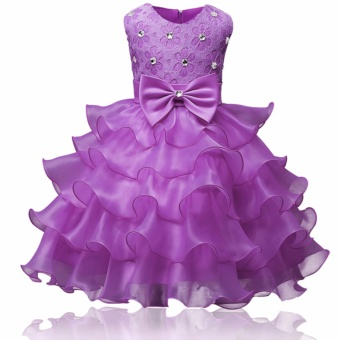Kids lace ruffles dress baby christening girl dress princess tutu dress for wedding party events wear girls - intl