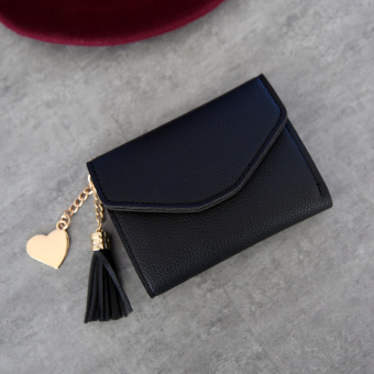 Kiss Shishang Women's heart-shaped pendant wallet (Black)