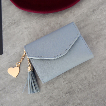 Kiss Shishang Women's heart-shaped pendant wallet (Gray blue)