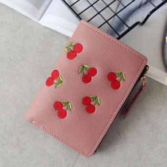 Kiss Stylish embroidered Women's verticle wallet (Deep Powder)