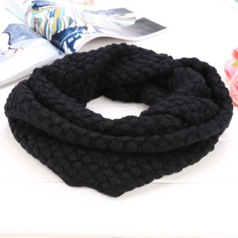 Knit Neck Cowl Wrap Warmers Scarf Corn Shawl Knitting Wool Circle(Black) - intl Price Philippines