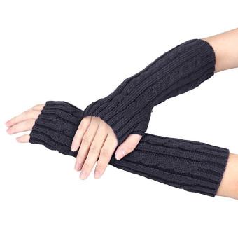 Knitted Arm Fingerless Winter Gloves Unisex Soft Warm Mitten Gray - Intl