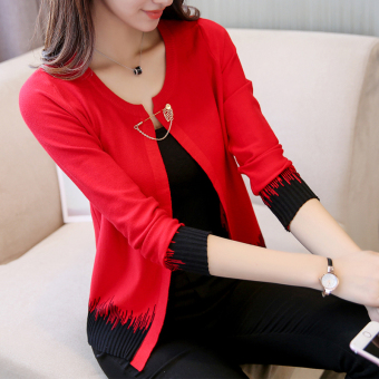 Knitted new sunscreen cardigan thin coat (Red)