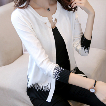 Knitted new sunscreen cardigan thin coat (White)