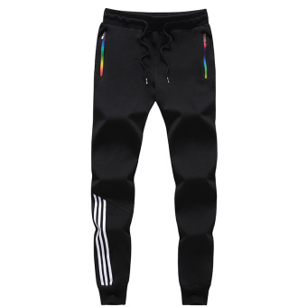 Knitted Plus-sized pants Teenager running sweatpants athletic pants (Black 8602)