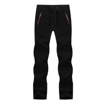 Knitted solid color running spring sweatpants athletic pants (Black)
