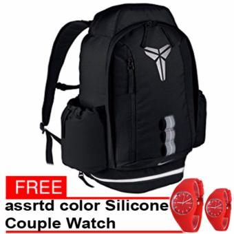 Kobe Unisex backpack (Black) with free assrtd color Silicone Couple Watch