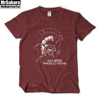 Kojima retro Cotton Short sleeved t-shirt (Wine red color)