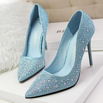 KOKO Fashion High-Heeled Shoes Woman Pumps Thin Heels Crystal HighHeels Pointed Toe Closed Toe Ladies Wedding Shoes Women Shoes(Pink) - 4