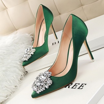 KOKO Hot Fashion High-Heeled Shoes Sexy Woman Pumps Crystal Thin Heels High Heels Closed Toe Pointed Toe Women Shoes Ladies Wedding Shoes (Green)