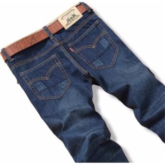 Korea Leisure Loose Straight Jeans For Men Denim Jeans Trousers Plus Size Big Large Pants 28-38 - intl - 2