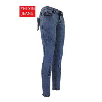 Korea Women's Tattered Classic Ripped Skinny Jeans - 2