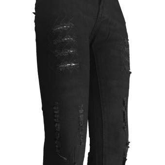 Korea Women's Tattered Classic Ripped Skinny Jeans blck - 5