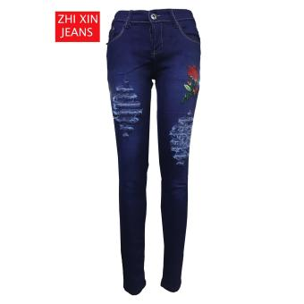 Korea Women's Tattered Classic Ripped Skinny Jeans BLUE