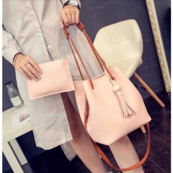 Korean 2 in 1 Bucket Bag and Make up Pouch Sling Bag (LightPink)