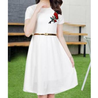 Korean Brielle Crepe Embroidered A-Line Midi Dress with Belt (White)