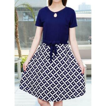 Korean Brooke Crepe A-Line Midi Dress with Belt (Navyblue)